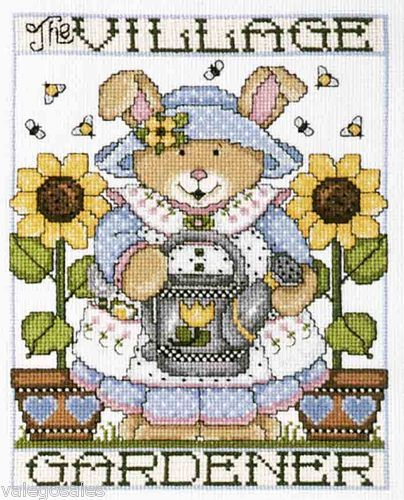 """Design Works Crafts /""""BROWN CHECKERED CAT/"""" Counted Cross Stitch Kit FLOWERS"""