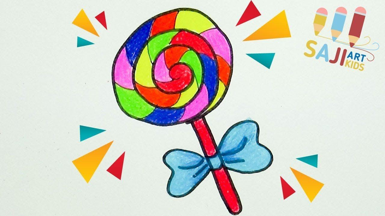 วาดร ประบายส ไม สวยๆ วาดร ปอมย ม How To Draw A Lollipop Cute And Easy