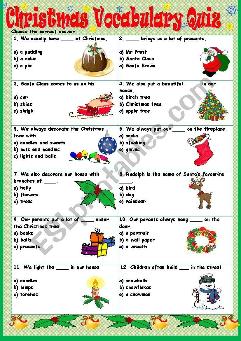 Christmas Vocabulary Quiz ESL worksheet by Tmk939