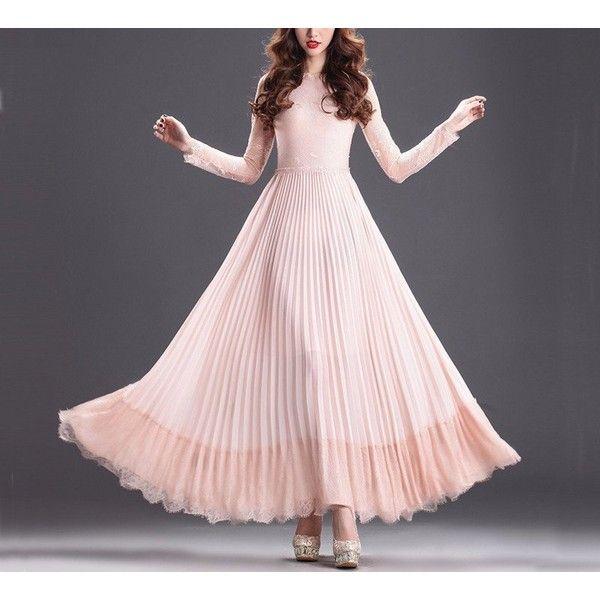 Elegant Light Pink Chiffon Dress (63 AUD) ❤ liked on Polyvore featuring dresses, pleated a line dress, long sleeve chiffon dress, lace trim dress, pleated dress and light pink dress