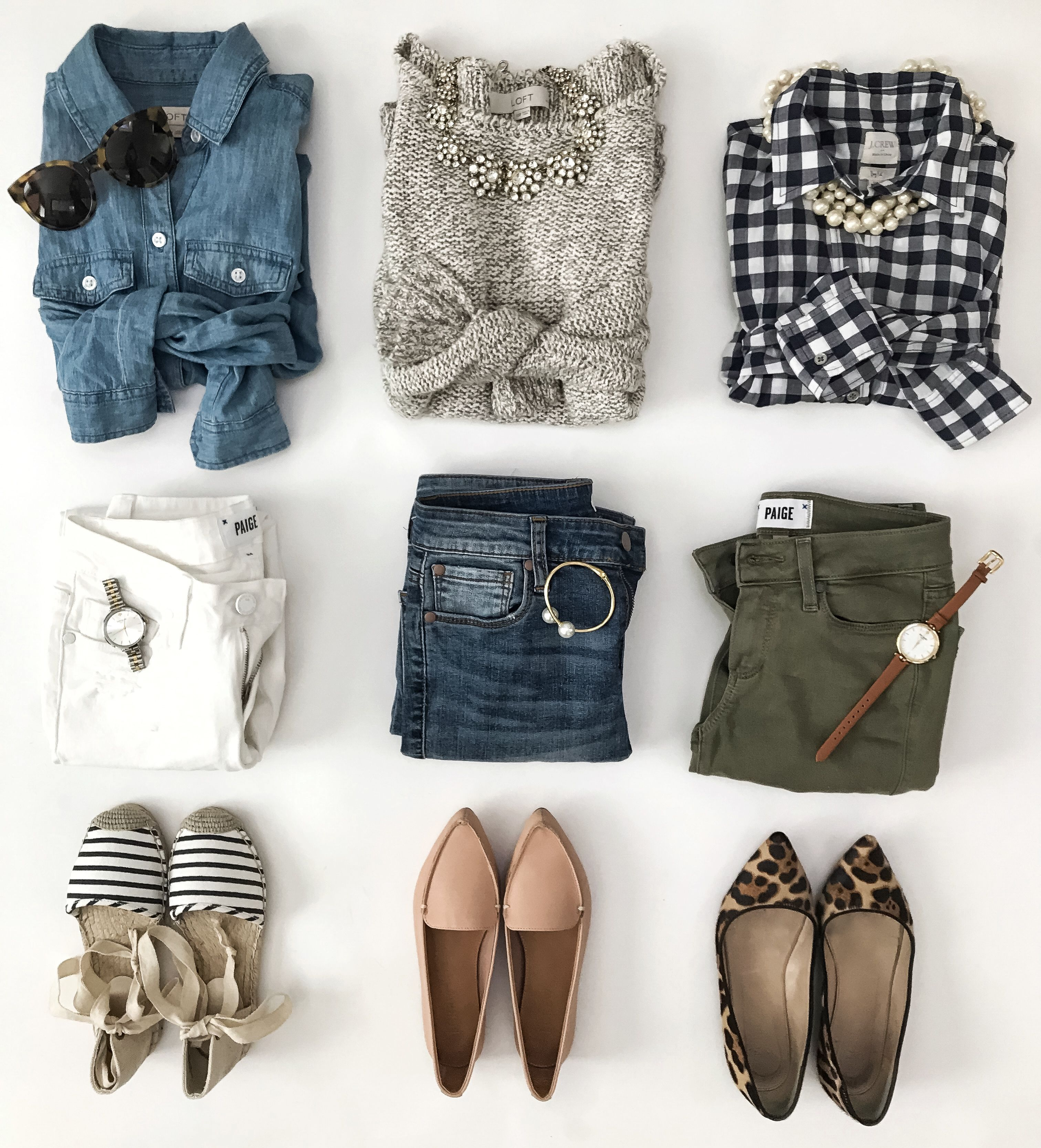8516f1230831 Spring outfit ideas: Chambray shirt with white pants and striped  espadrilles. Gingham shirt with olive pants and leopard print flats.