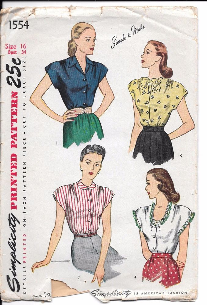 1940s VTG Sewing Pattern Front Button Blouse Simplicity 1554 Sz 16 ...