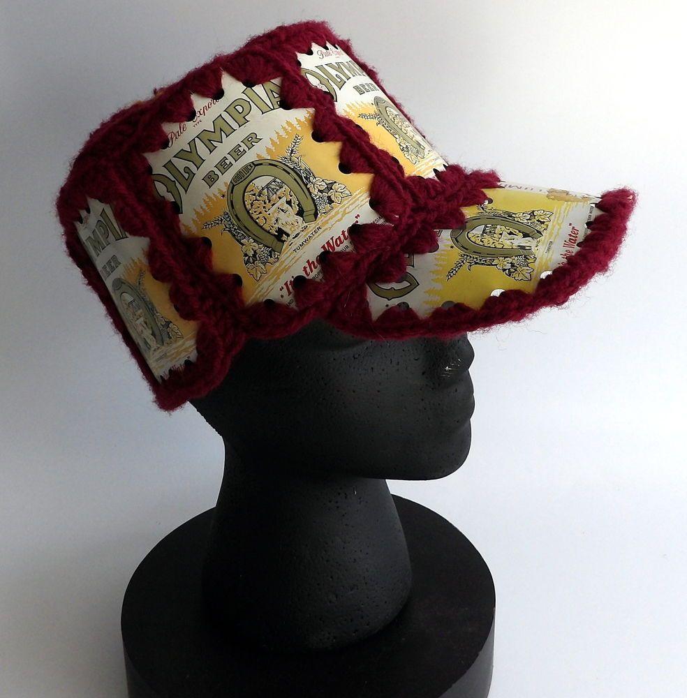 Olympia Beer Can Hat Crochet Baseball Cap Vintage Knit Aluminum ...