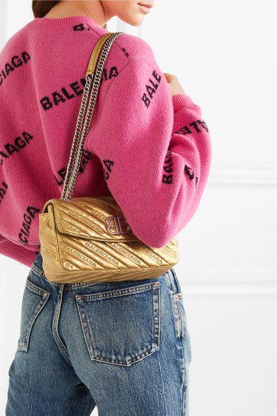 9e9c47cfaae0e2 Balenciaga - Bb Round Small Embroidered Metallic Textured-leather Shoulder  Bag - Gold