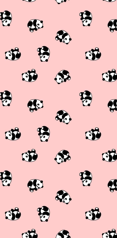 Cute panda bear, babies nursery wallpaper pattern.