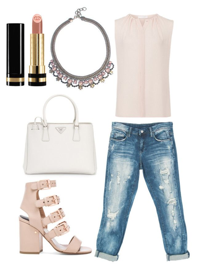 """""""Untitled #2144"""" by fcharese ❤ liked on Polyvore featuring Laurence Dacade, Sans Souci, Prada, Elizabeth Cole and Gucci"""