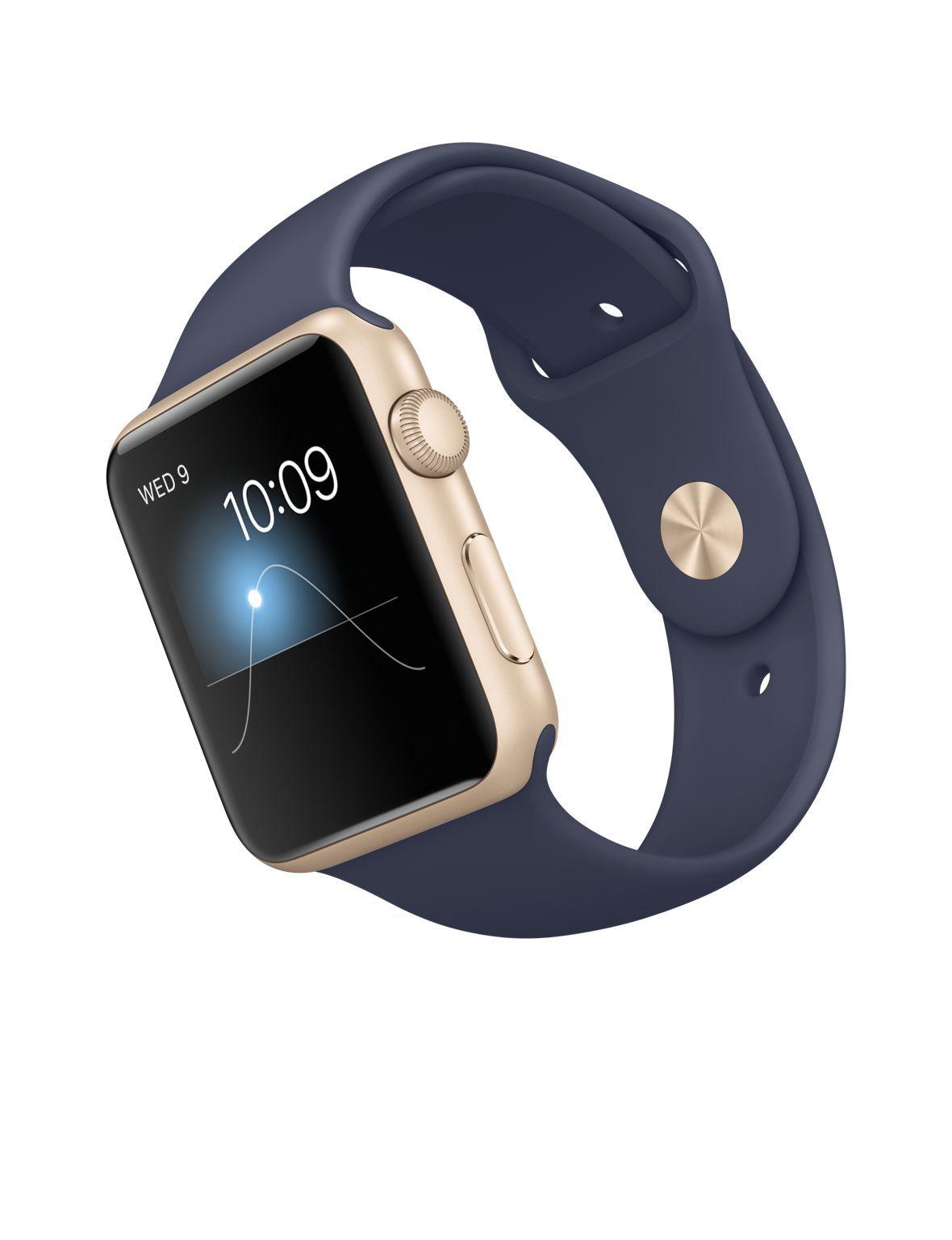 Apple Watch Sport 42mm Gold Aluminum Case With Midnight Blue Sport Band Apple Apple Watch Correas Apple Watch Y Reloj