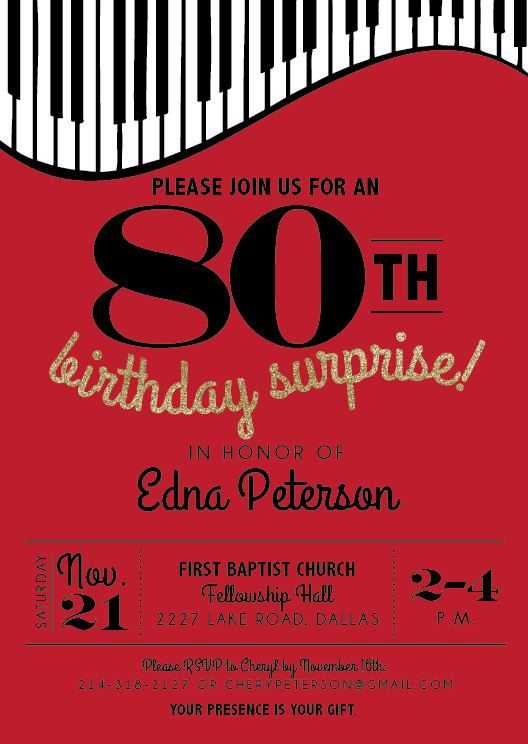Printable Piano Birthday Party Invitation Music Men Parties 80 80th