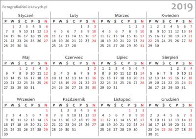 Kalendarz 2019 Do Druku Układ Roczny Miejsce Do Oglądania