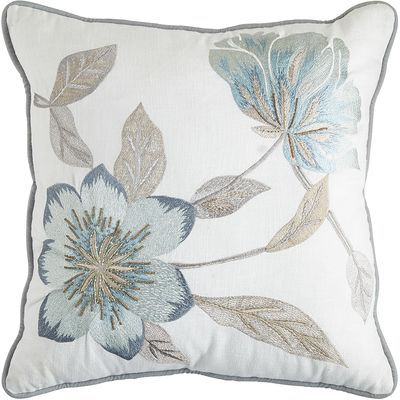 Glass beads add just the right amount of glimmer to our woven cotton pillow, while a bold flower motif keeps things fresh and natural in spirit. Finished with a hidden-zipper closure, this comfortable design is shaped with durable poly fiberfill for long-lasting good looks.
