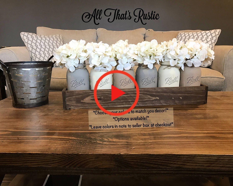 Large Mason Jar Centerpiece, Table Centerpiece, Table Decor, Kitchen Decor, Rustic Home #homedecor
