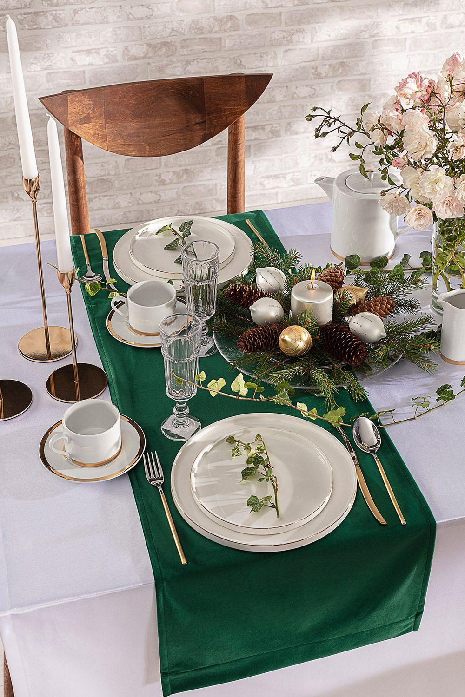 Wie gefällt euch den Tischläufer aus dem Velvet-Stoff im winterlichen 🌲-grün?