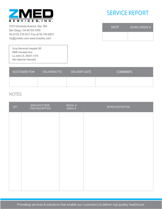 Packing Slip Templates San Diego Based Medical Device Repair Company Needs New Template .