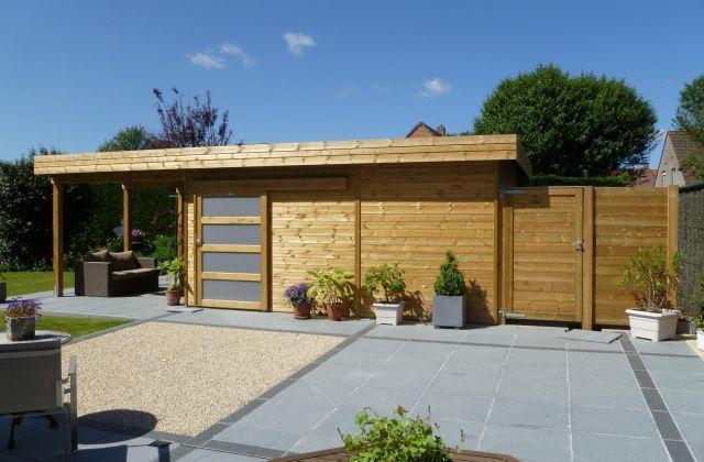 Abri de jardin toit plat en bois avec terrasse Jardins sur le côté - toiture terrasse bois accessible
