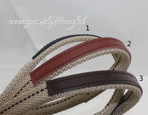 Webbing Handle Purse Strap Bag Leather Thick Canvas Cotton Belt 1 Pair Khaki Real