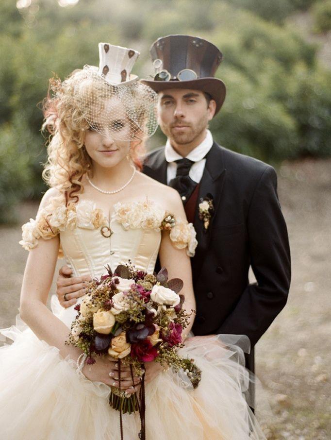 Gorgeous stream-punk wedding day attire