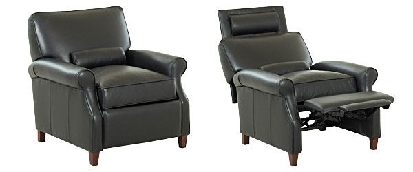 Superior $1160 Black Small Leather Recliner Chair W/ Kidney Pillow