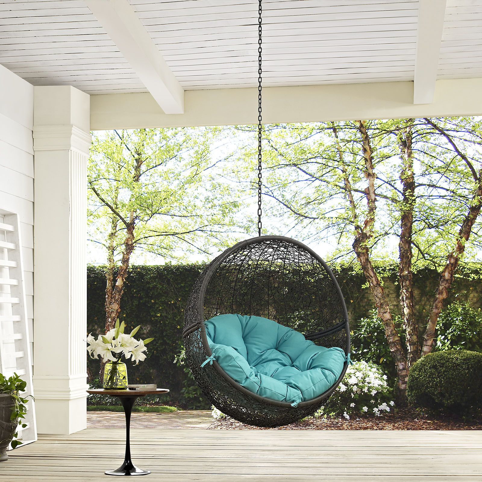 Modway Furniture Hide Gray Turquoise Outdoor Swing Chair with Stand