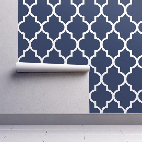 Blue Wallpaper Classic Navy White Quatrefoil By Willow Lane Etsy Quatrefoil Wallpaper Blue Wallpapers Wallpaper Roll
