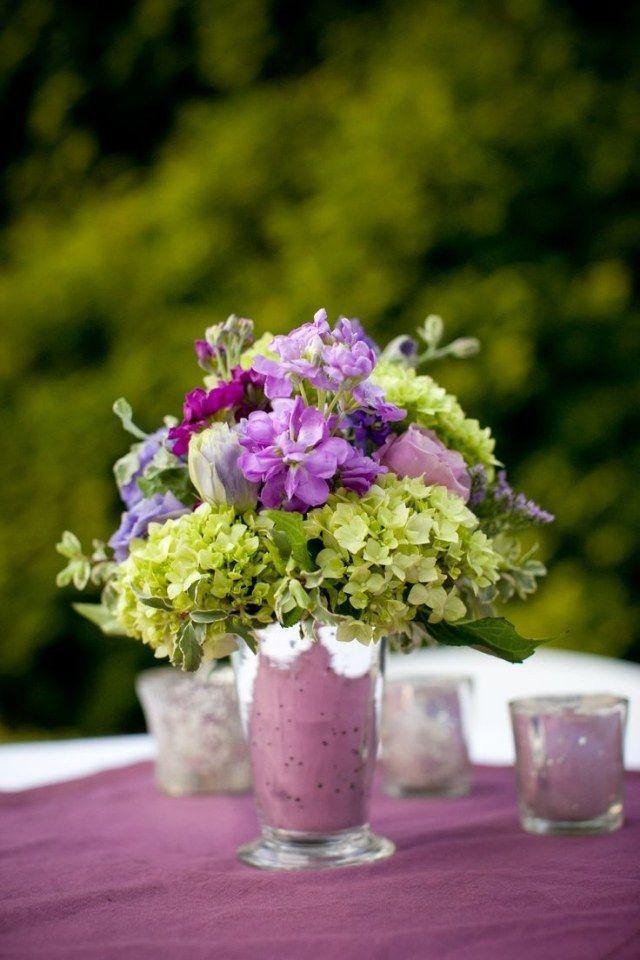Hochzeit Tischdeko Ideen Lila Gruen Palette Hortensien Hochzeit