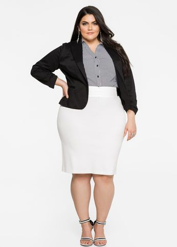 plus size ponte pencil skirt - plus size white skirt work outfit