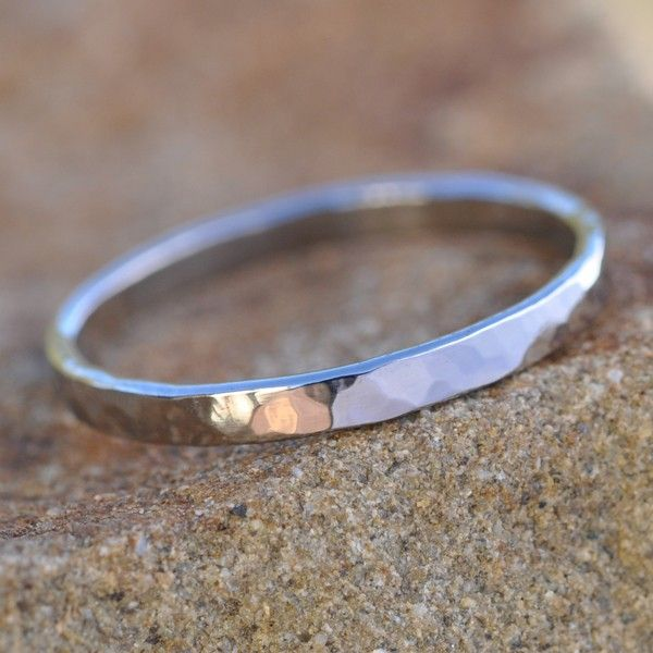 White Gold Ring 14k Palladium Hammered 2mm Wide Sea Jewelry