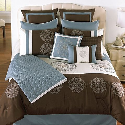Blue And Brown Comforters From Bed, Slate Blue And Gray Bedding
