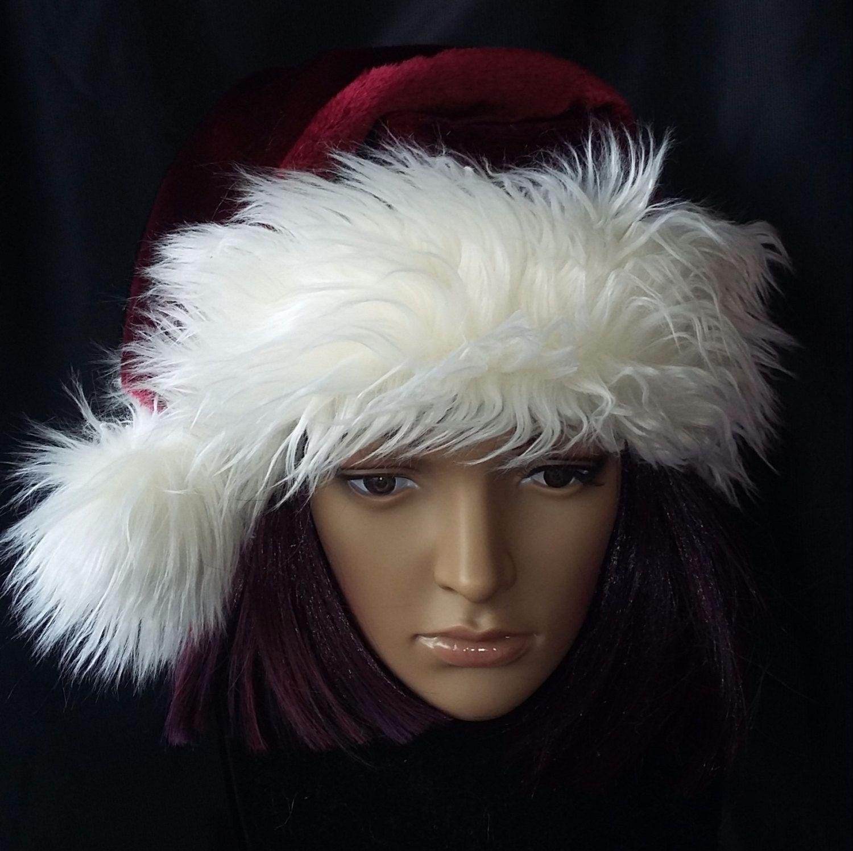 6adfd96dd8e9d Burgundy Santa hat with beautiful shaggy cream fur by OriginalsByEva on Etsy