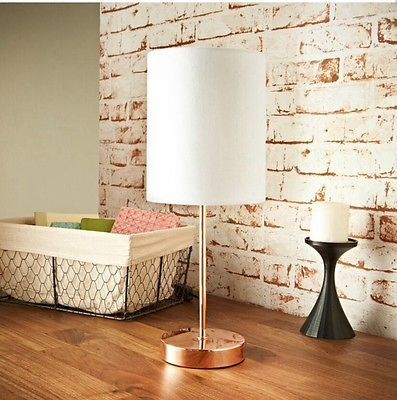 COPPER TABLE LAMP WHITE SHADE MODERN ROSE GOLD BEDSIDE LIGHT DECOR  ACCESSORIES