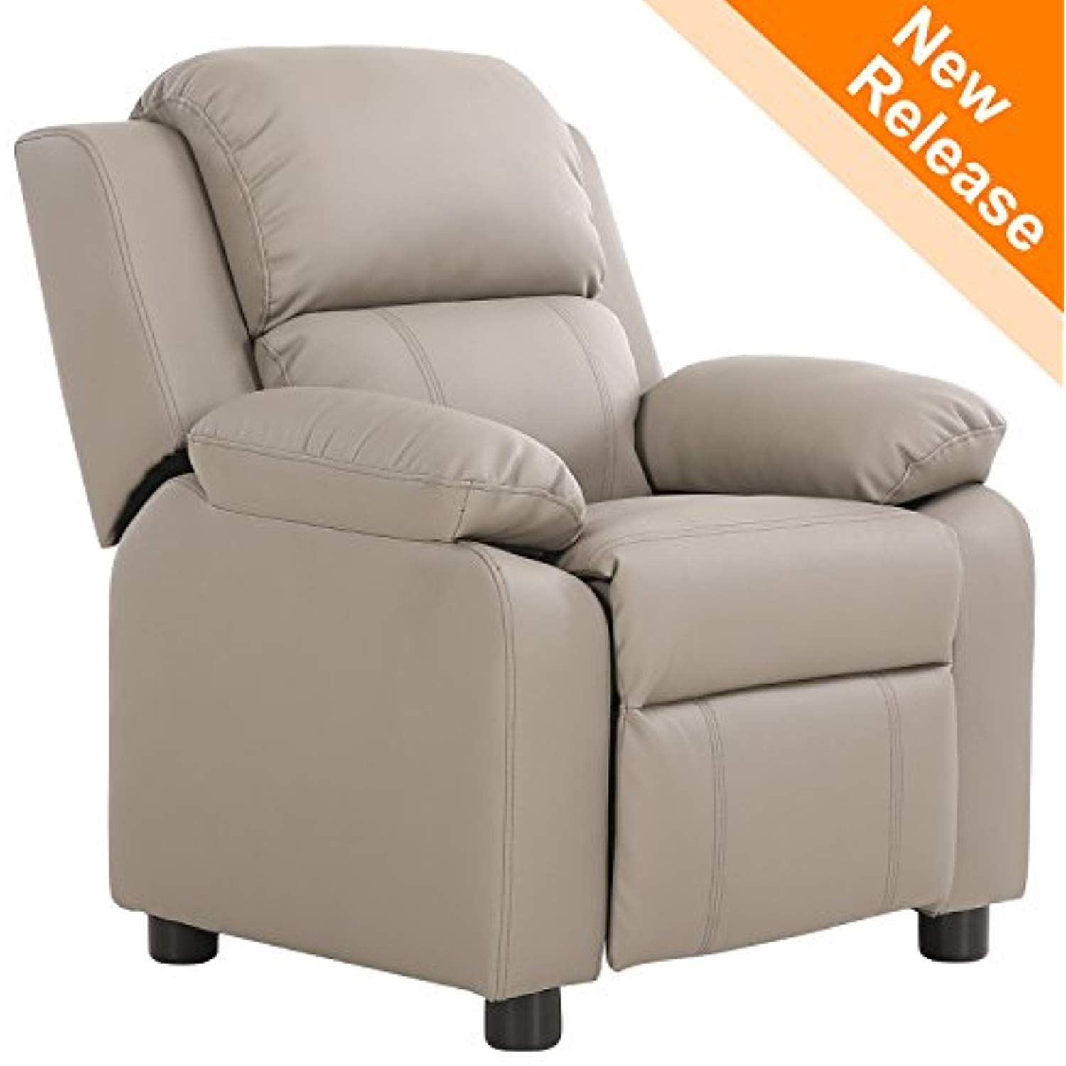 Lch Contemporary Pu Leather Kids Recliner With Deluxe Padded Backrest And Flip Up Storage Arms