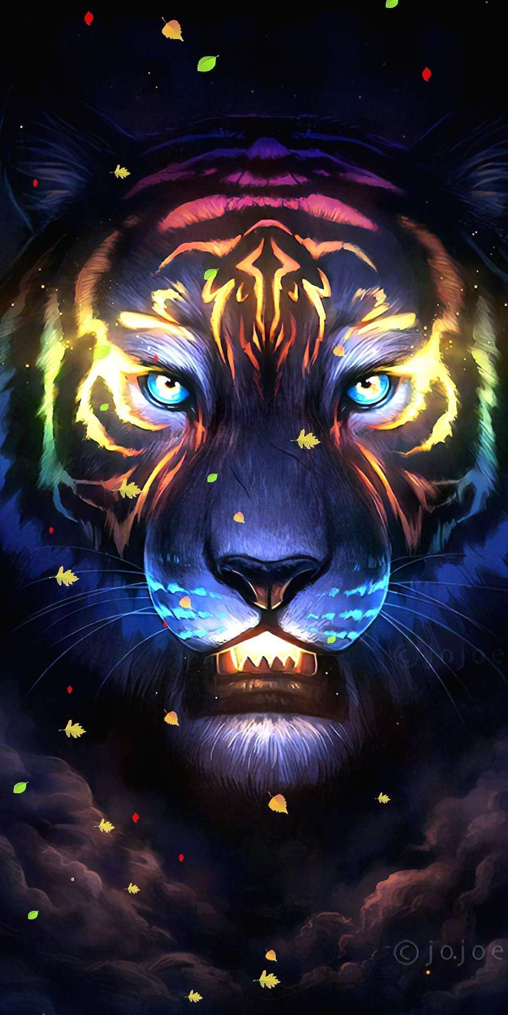 Neon Tiger iPhone Wallpaper art collection in 2019
