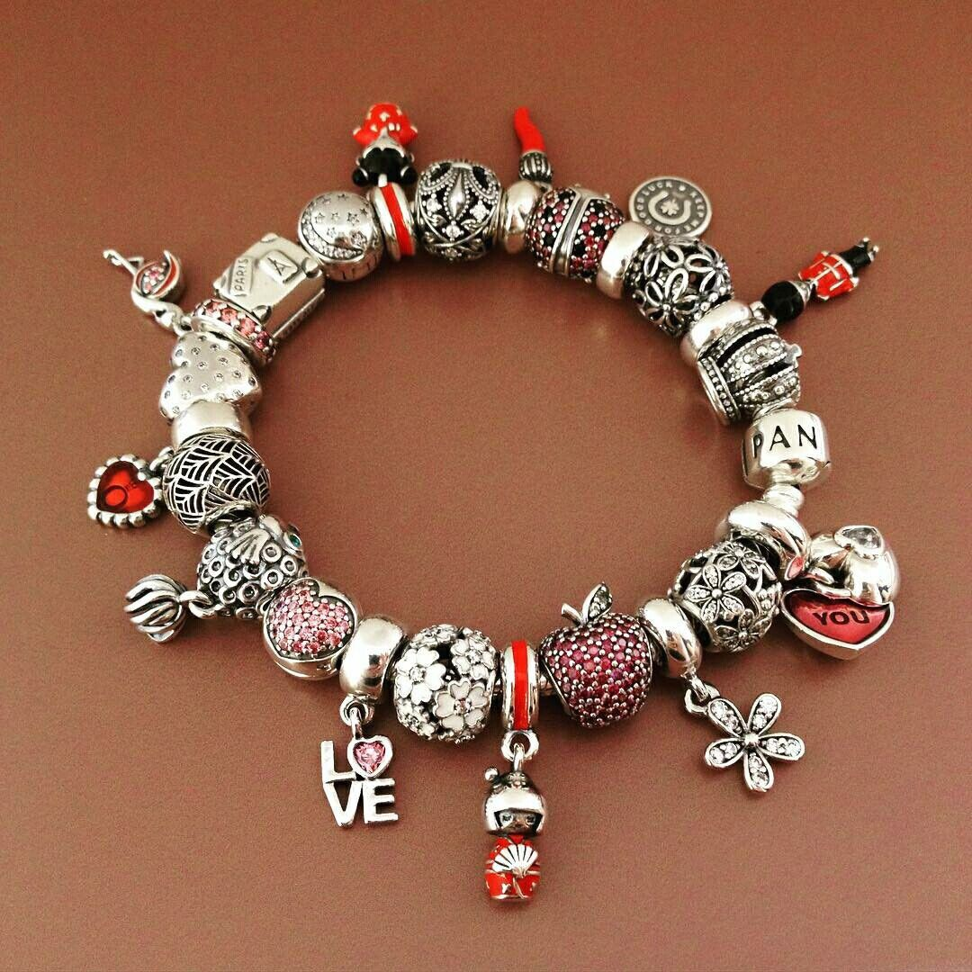50% OFF!!! $499 Pandora Charm Bracelet Pink Red White. Hot ...