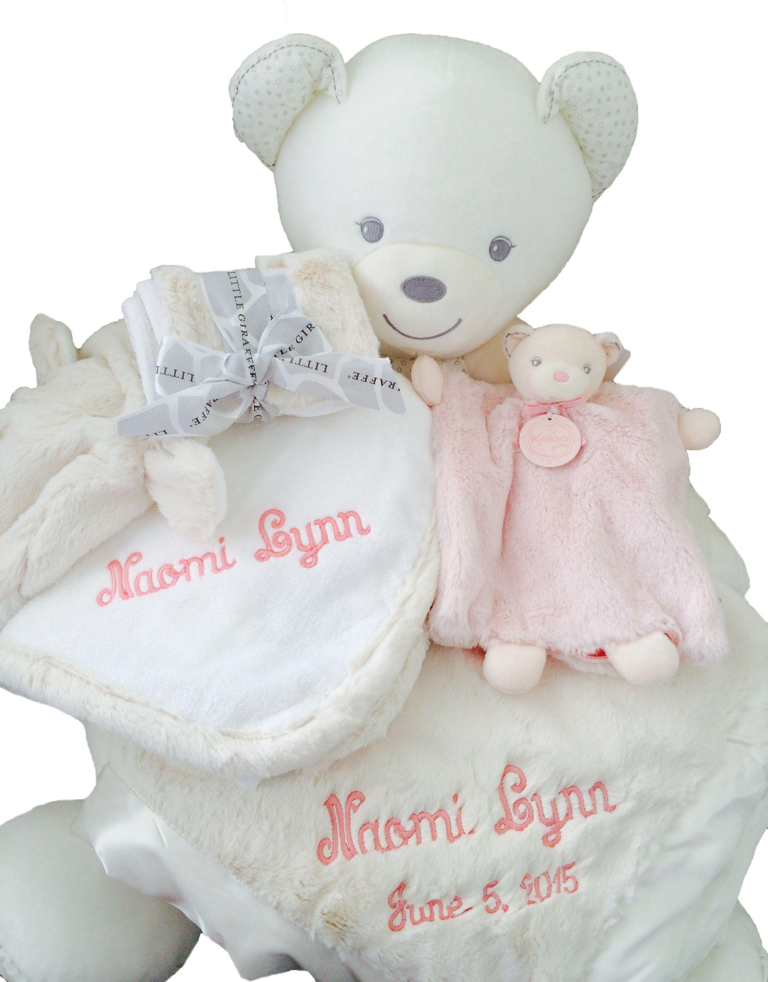 Personalized baby gift basket cream kaloo sofa cream little personalized baby gift basket cream kaloo sofa cream little giraffe luxe crib blanket negle Gallery