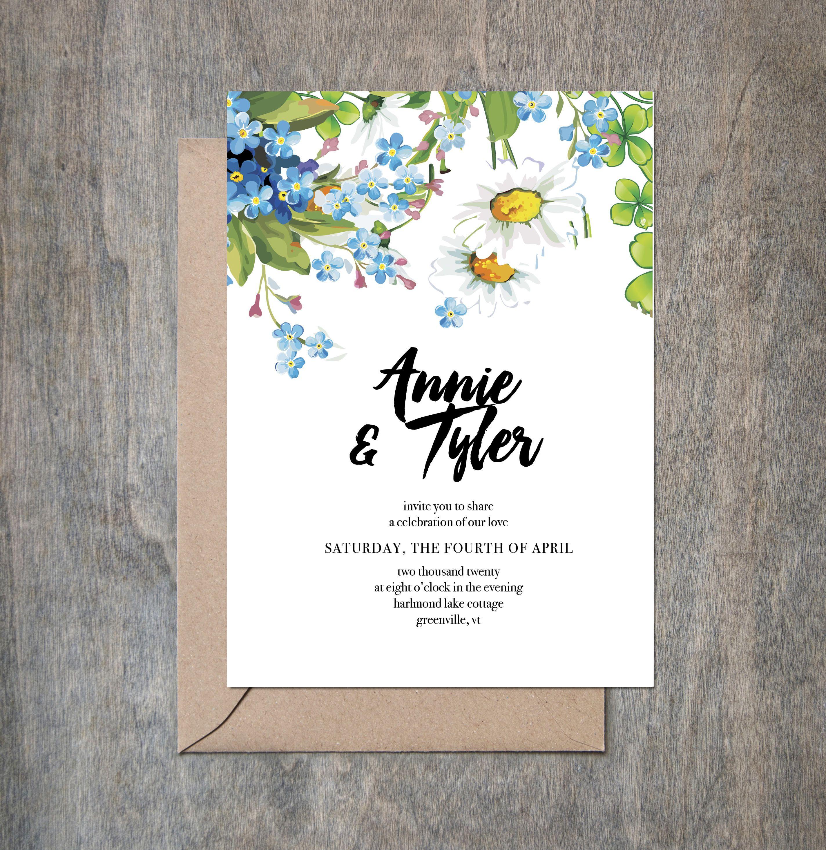 wedding invitations floral garden outdoor wedding printed or