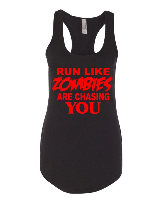 This Is Our Run Like Zombies Are Chasing You Performance Tank  This Tank Is Shown In Black Color With Red Graphic    These Are Next Level Ladies