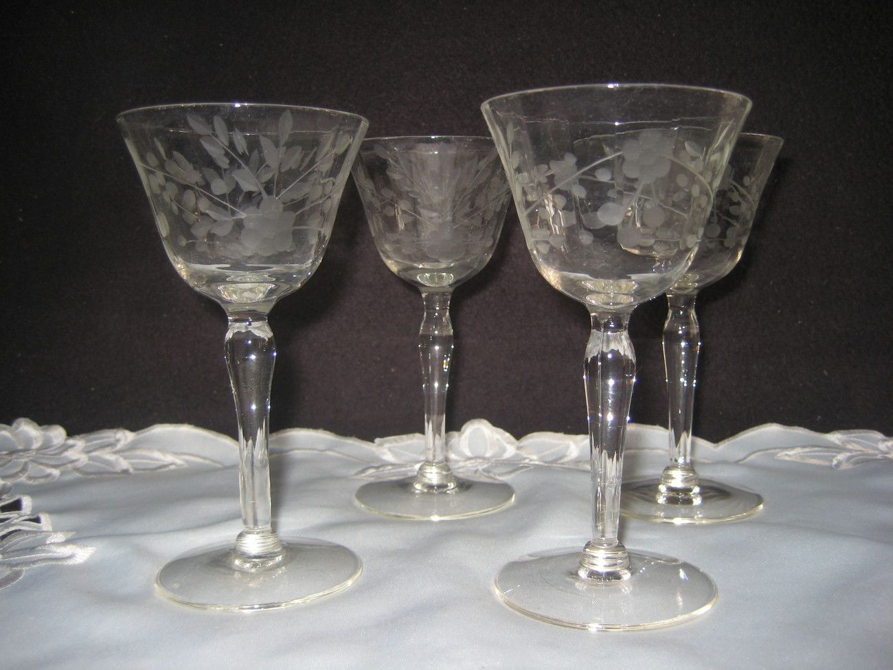 Crystal Stemware Wine Glasses Antique Etched Crystal Stemware Vintage Crystal Clear