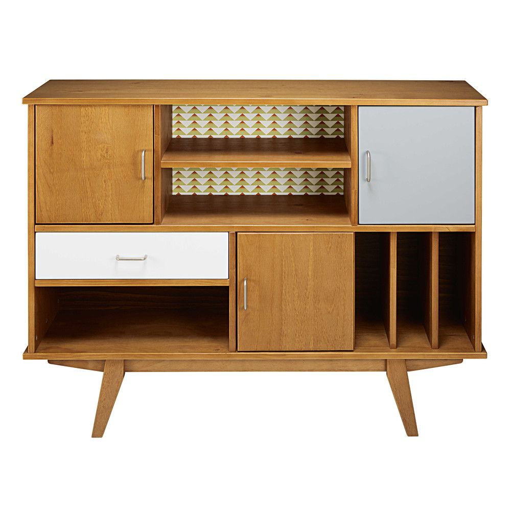 Tricoloured Pine 3 Door 1 Drawer Vintage Bookcase Vintage  # Commode Tv But