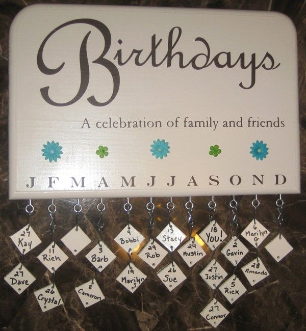 I think this would be neat to make for the kids classrooms. So they could have all there birthdays posted