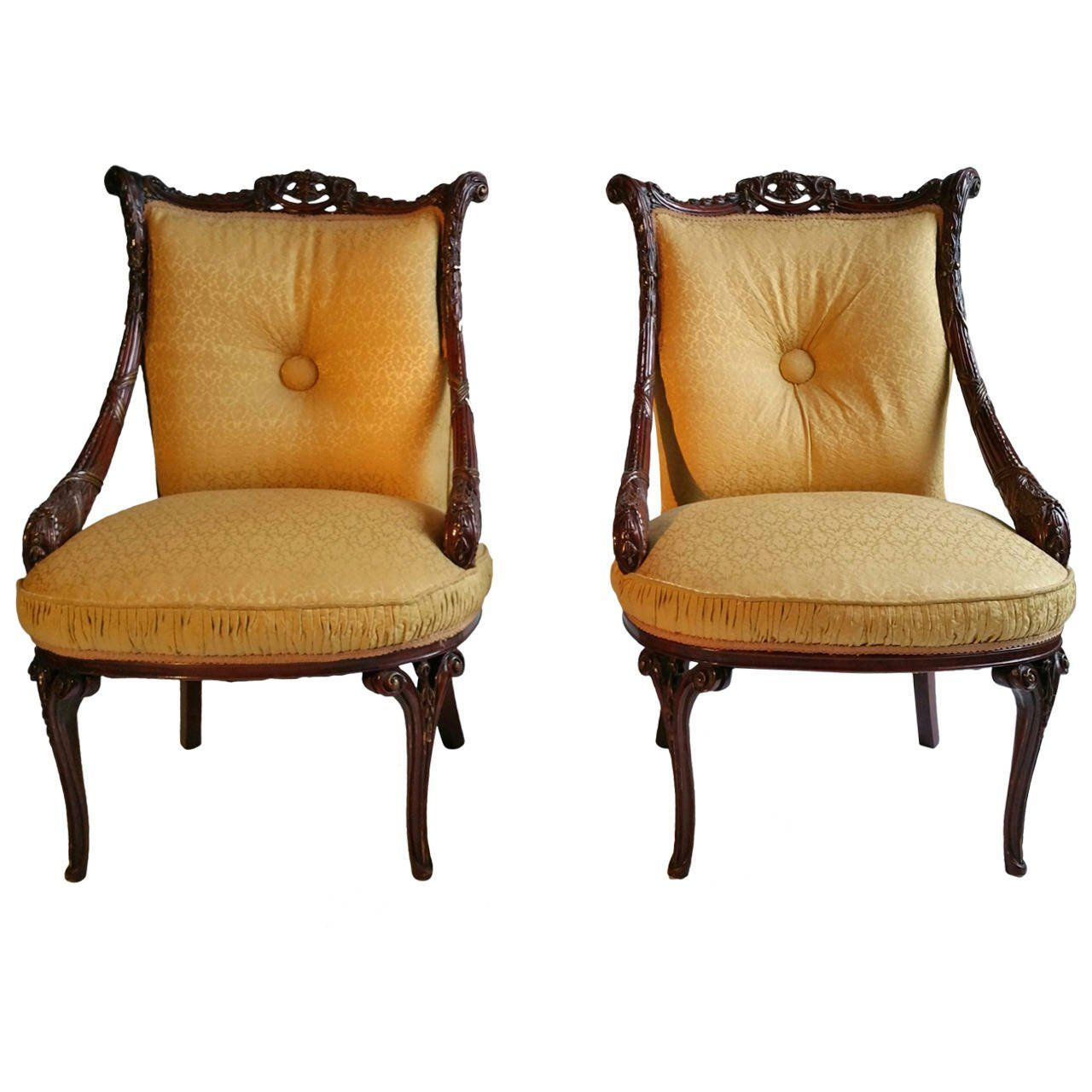 Pair Of 1940s Hollywood Regency Chairs Attributed To Grosfeld House