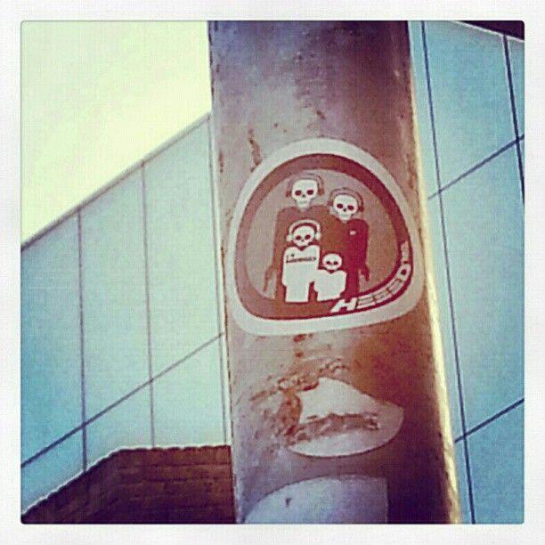 Dublin Street Art Sticker Of Skull Face Family