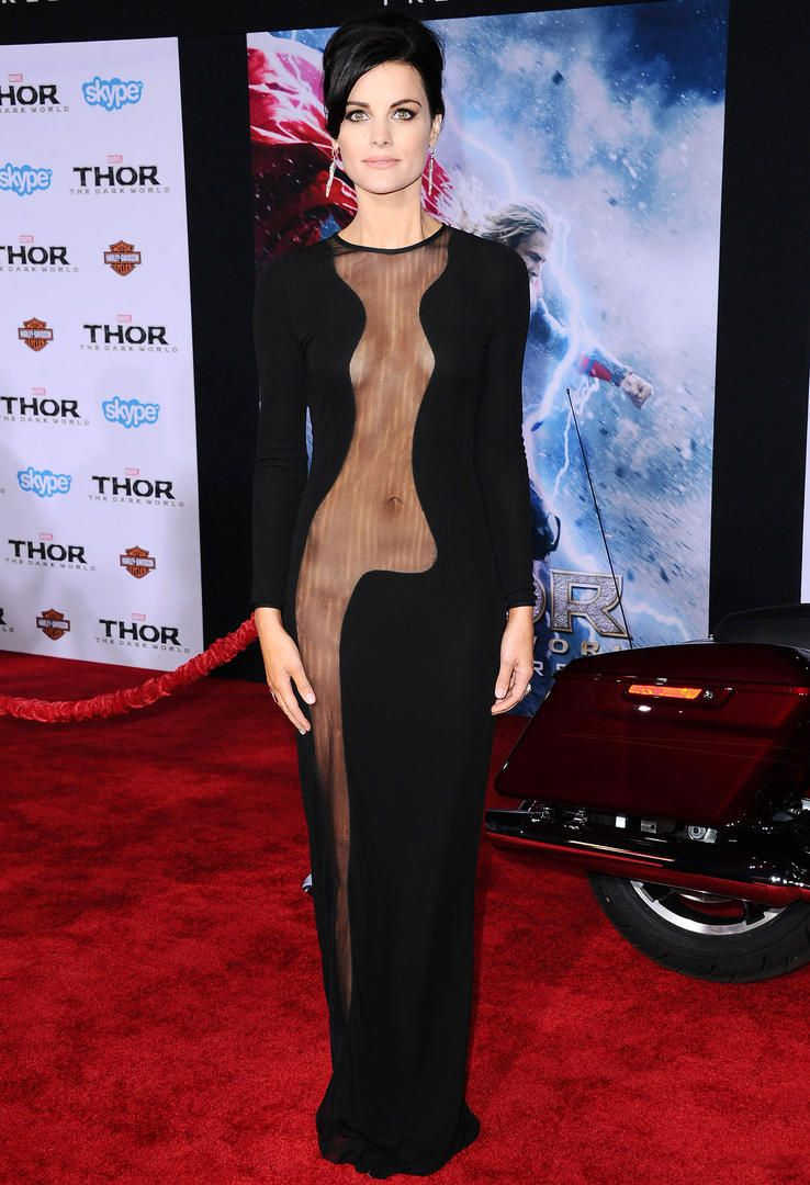 The Most Revealing Red Carpet Looks Ever Tv Guide Jaimie Alexander Red Carpet Looks Lil Black Dress
