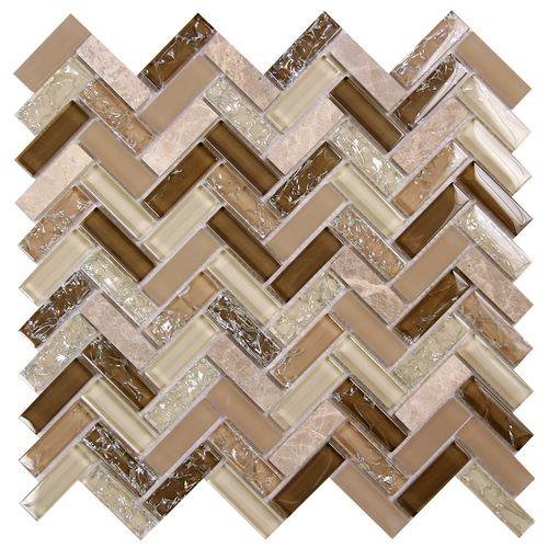 Archery Wedgewood Herringbone Mosaic Glass Tile kitchen
