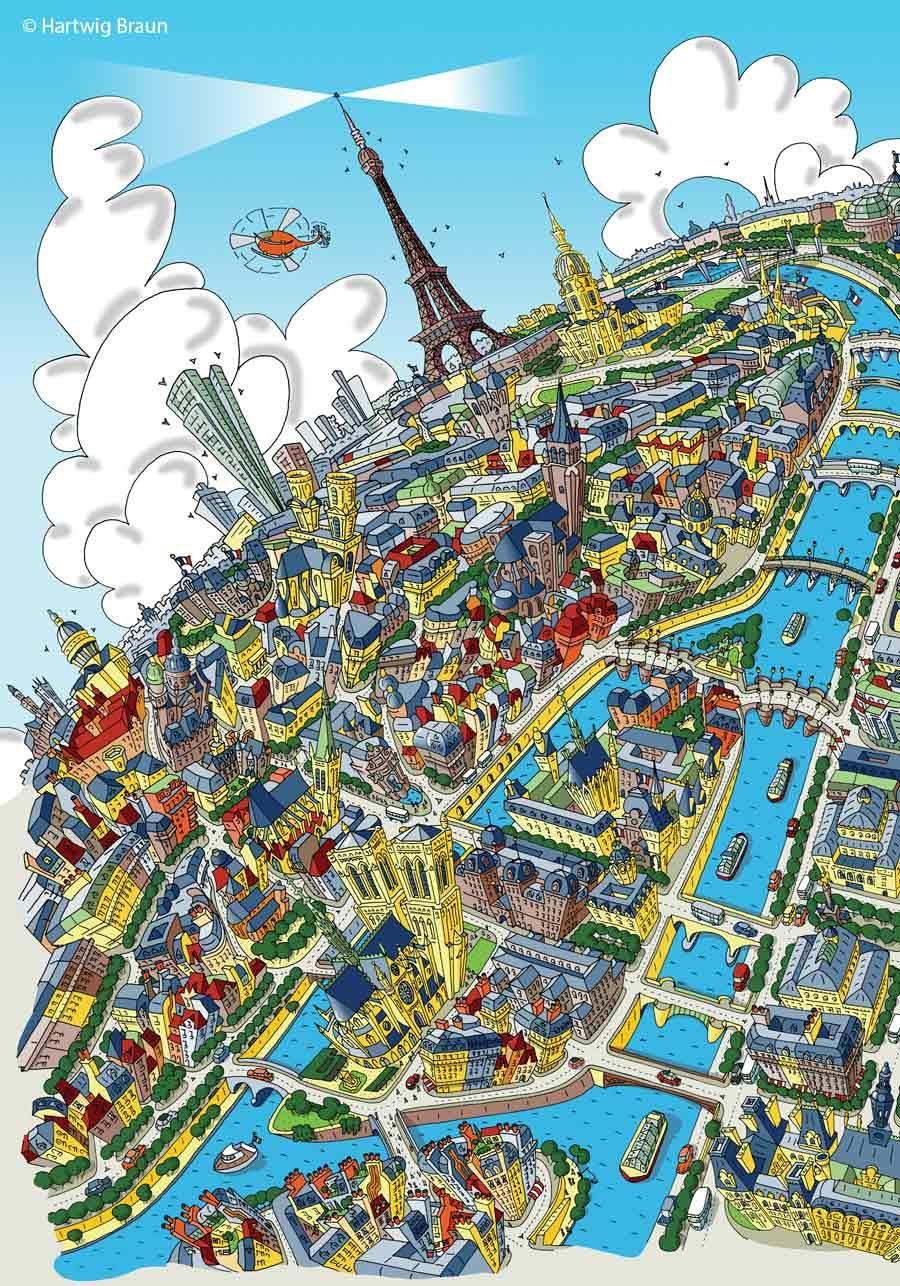 Detail of Paris Looking West by Hartwig Braun