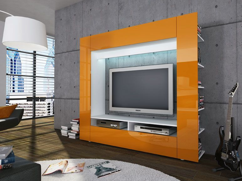 Easyfurn Wohnwand Olli Orange Lidl Deutschland Lidl De Bedroom Entertainment Center Living Room Entertainment Center Tv Wall Unit