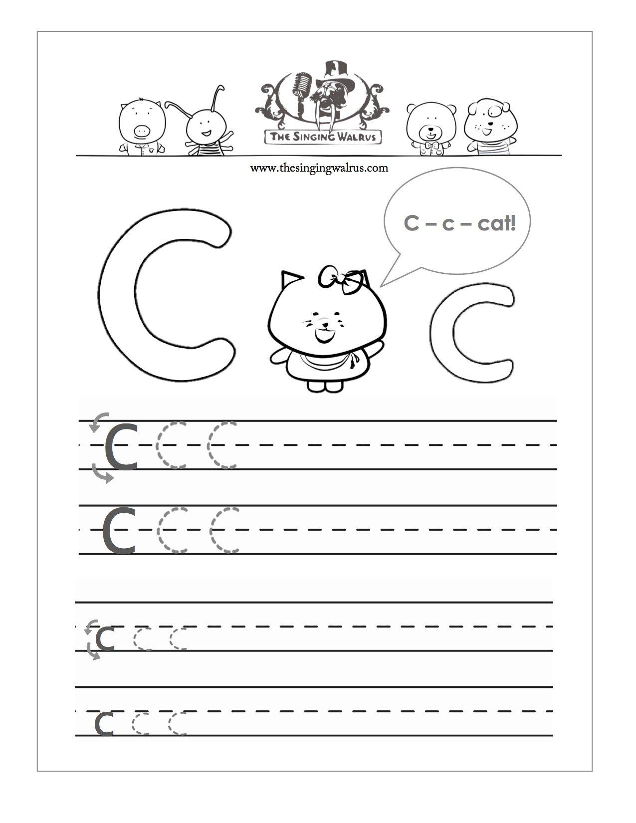 Letter C Worksheets Free Handwriting Worksheets Preschool Letters [ 1650 x 1275 Pixel ]