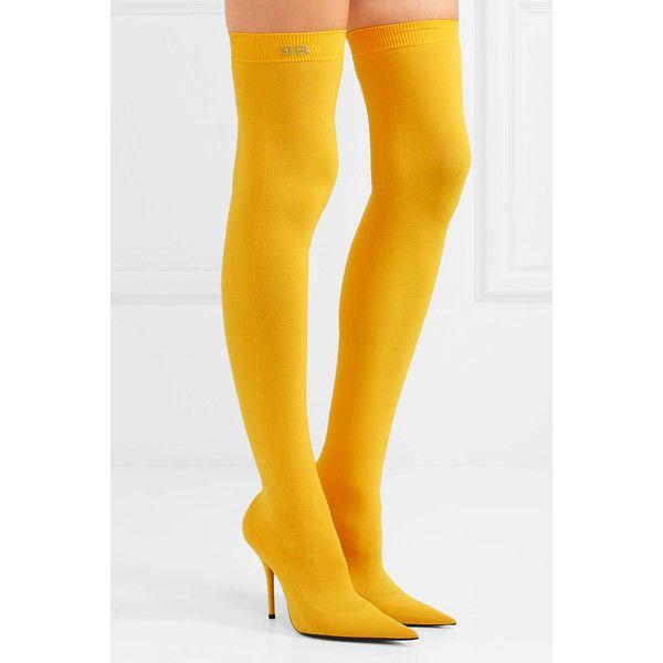8c8c1e77bdcd5 Balenciaga Stretch-jersey thigh boots ( 1