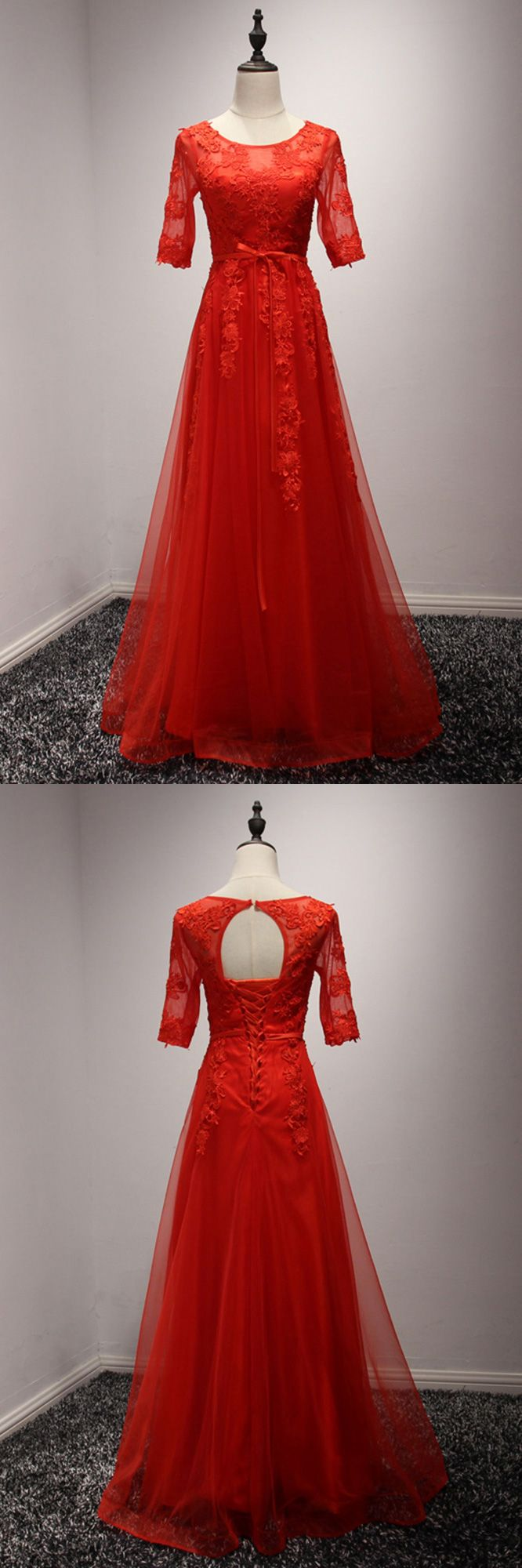 Modest sleeved lace red formal dress long for wedding