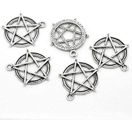 PEPPERLONELY Brand 20PC Antique Silver Pentagram Round Charms Pendants 31mmx28mm