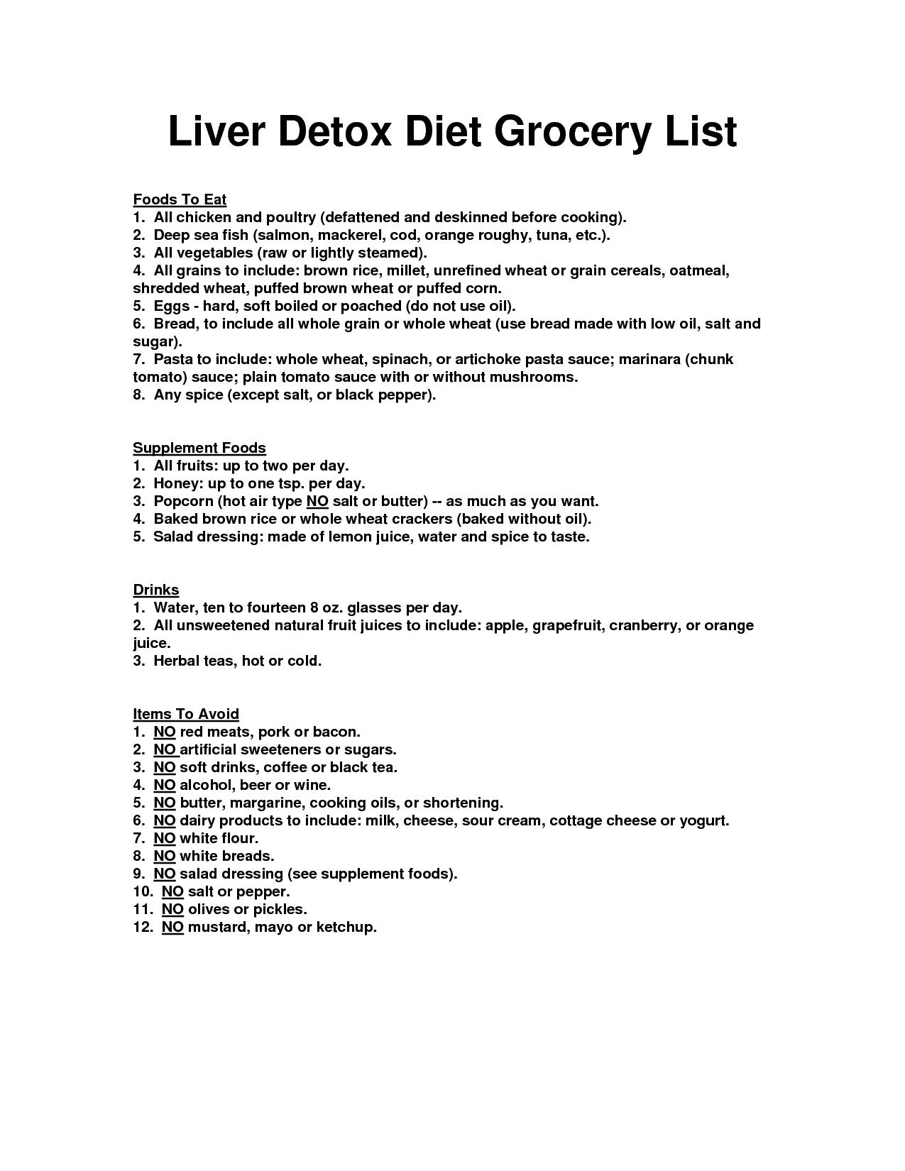 fatty liver diet grocery list