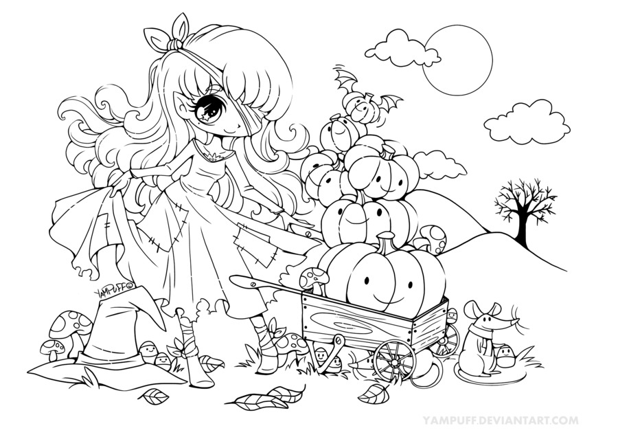 This Lineart Was Made For The 2013 Halloween Coloring Contest Of For More Info Click Here Cu Chibi Coloring Pages Halloween Coloring Pages Halloween Coloring